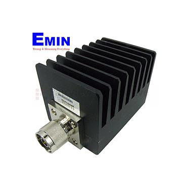 Fairview SA4N508-40 40 dB Fixed Attenuator N Male To N Female Up To 4 GHz Rated To 50 Watts With Black Aluminum Heatsink Body