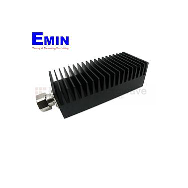 Fairview SA3D100-06  6 dB Fixed Attenuator 7/16 Male To 7/16 Female Up To 3 GHz Rated To 100 Watts With Black Aluminum Heatsink Body