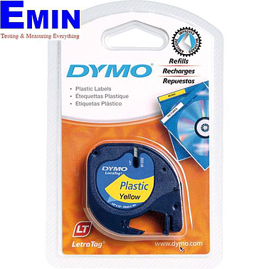 DYMO 63020746 LetraTag Yellow Plastic Tape  (12mm x 4m)