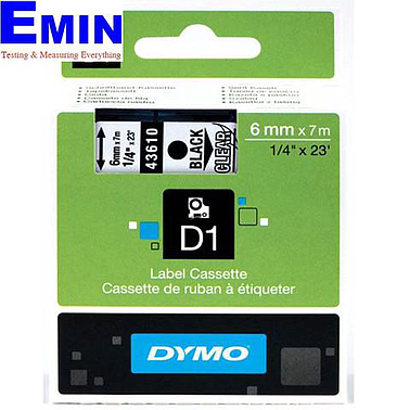 DYMO 63020729 Labelmanager D1 Black/Clear Tape (6mm x 7m)