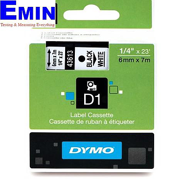 DYMO 63020728 Labelmanager D1 Black/White Tape (6mm x 7m)