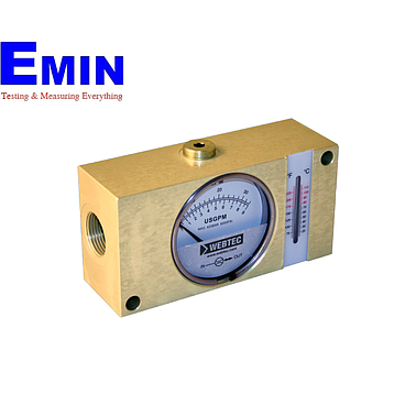 Webtec FI750-120BBWT Hydraulic Brass In-line Flow Indicator (Water:140 lpm;Oil:120 lpm;420 bar;with temp)